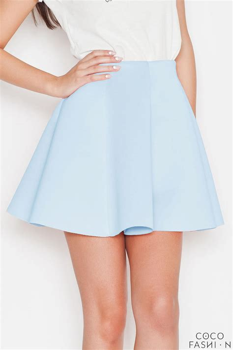 blue light pleates high waist mini skirt