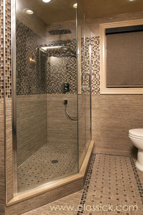 Quarter Bathroom Tiles Brown Beige Three Quarter Bathroom Large Angled Glass