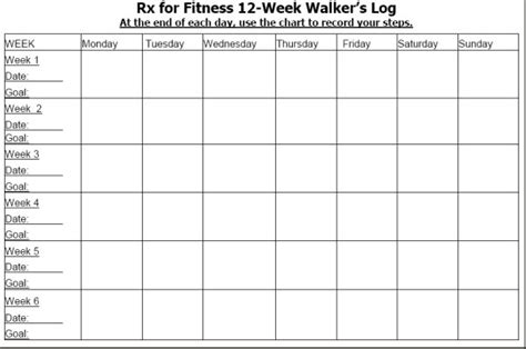 12 Week Calendar Template