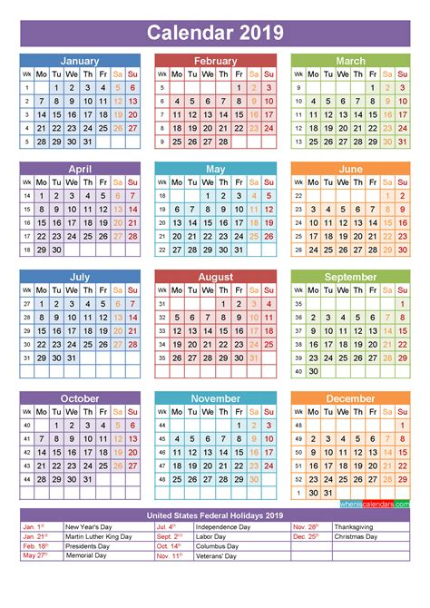 Calendar 2019 Printable With Holidays 2019 Calendar With Holidays 2018 Calendar Printable