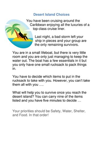 Stranded On A Desert Island Essay by Desert Island Choices By Salsasue Teaching Resources Tes