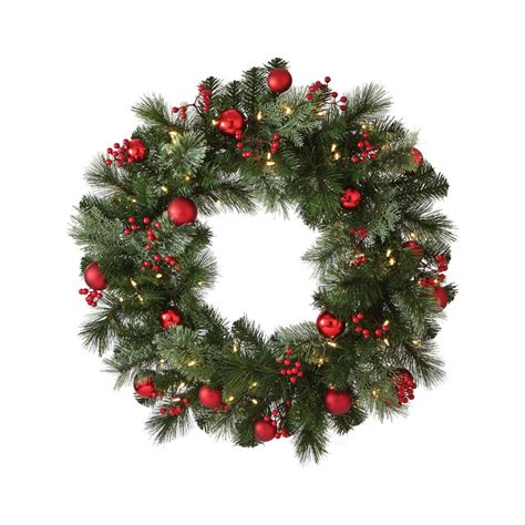 holiday wreath home accents holiday 30 in snowy pine artificial wreath