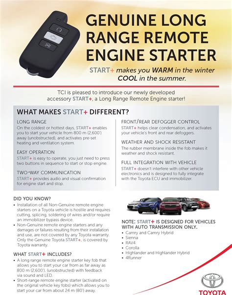 Remote Starter For Toyota Toyota Remote Engine Start Toyota Free Engine Image For