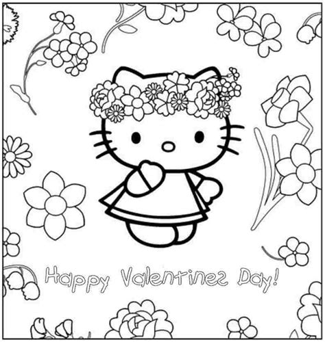 kitten valentine coloring page free printable hello kitty valentine coloring pages