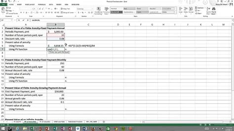 Time Value Of Money Excel Spreadsheet by Excel Formula To Calculate Present Value Of Annuity How