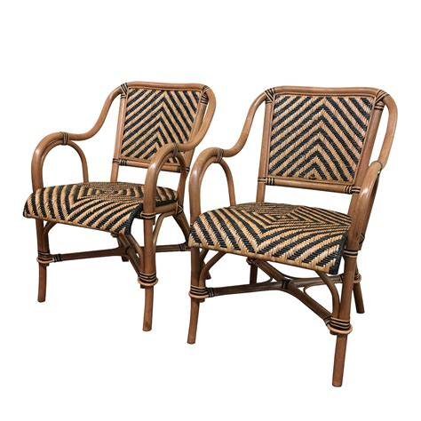 Wicker Dining Room Arm Chairs A Pair Of Safari Rattan Dining Arm Chairs Wicker Paradise