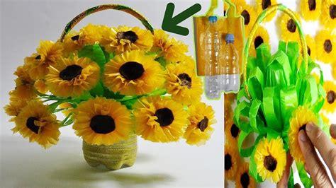 membuat bunga matahari  botol plastik bekas