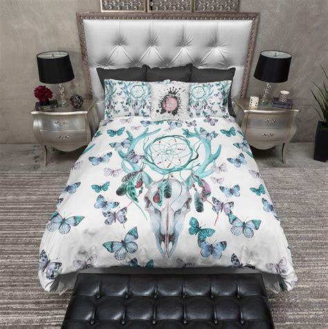 dreamcatcher bedding blue green dreamcatcher butterfly buck deer skull bedding