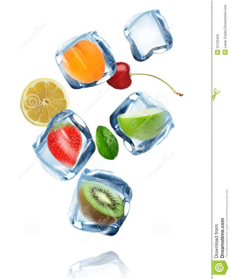 fruit y hielo fruits in cubes splashing into the water stock image