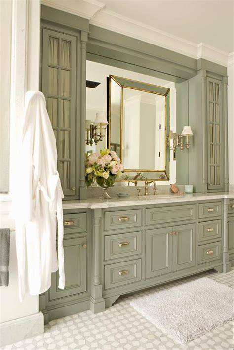 green bathroom furniture green gray bathroom vanity cabinets with gold leaf mirror
