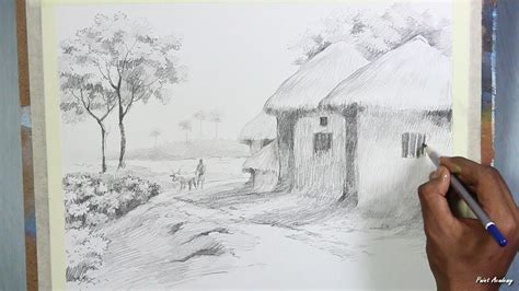 village boat drawing pencil drawing techniques village landscape drawing step