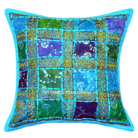 turquoise sequin patch embroidered decorative cottn throw