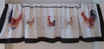 Rooster Kitchen Curtains Valances Country Rooster Valance Chickens Window Treatment