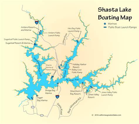 lake shasta boating shasta lake boating map