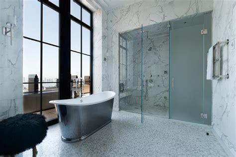 Freestanding Oval Tub With Floor Mount Spigot Tub Filler Walk In Shower Doors Glass
