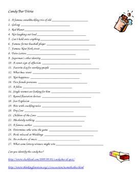 candy bar trivia worksheet by librarychick teachers pay