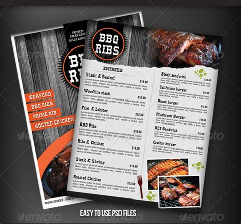 free restaurant menu template psd bbq menu templates 27 free psd epd documents