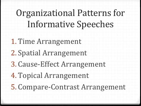 a topical pattern of speech organization has outlining organizing speech