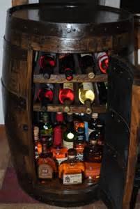 whiskey barrel liquor cabinet w lazy susan built in wine