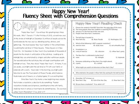 printable reading comprehension year 3 classroom freebies happy new year fluency sheet with
