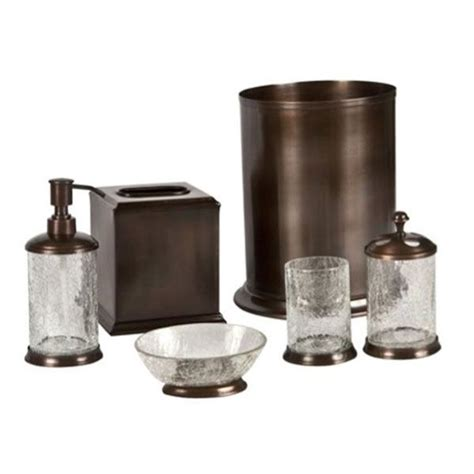 oil rubbed bronze bathroom accessories set orb crackle glass and oil rubbed bronze bath accessories