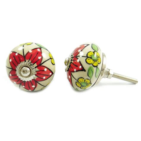 Floral Drawer Knobs Kitchen Cabinet Door Knobs Floral Design Indian Ceramic