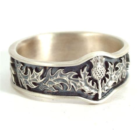 Scottish Wedding Rings by Scottish Thistle Jewelry 925 Sterling Silver Thistle Ring