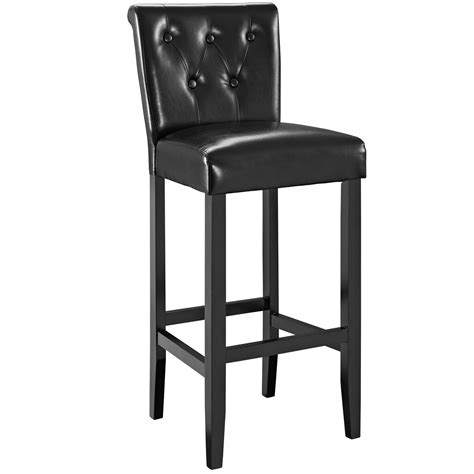 Bar Stools Black Leather by Tender Modern Button Tufted Faux Leather Bar Stool W Foot