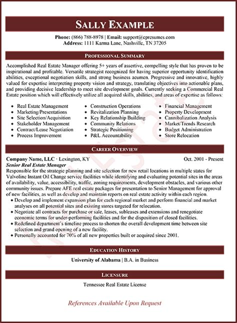 Resume Real Estate Development Manager real estate underwriter resume