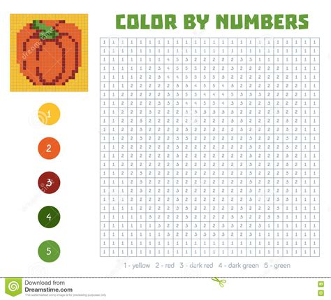 color by number fruits and vegetables pumpkin stock