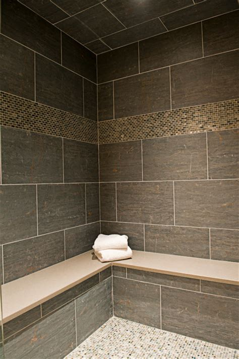 bathroom with slate tile slate in style contemporary wall and floor tile