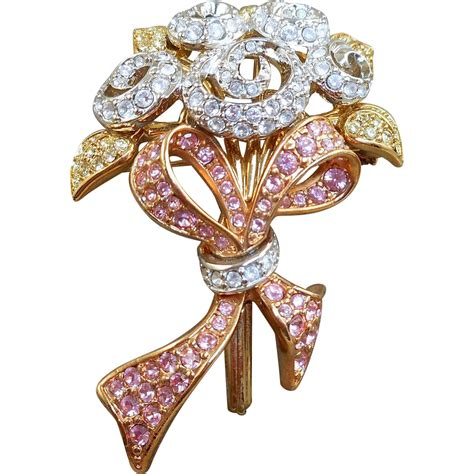 Flower With And Swarovski swarovski bouquet brooch from antiqueali on ruby
