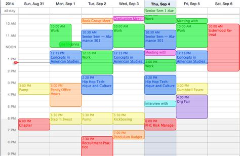 Umass Mba Class Schedule by Calendar Color Coding Worksheets For All And