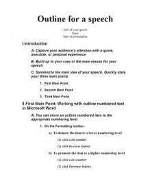 demonstration speech outline template speech outline templates school layout
