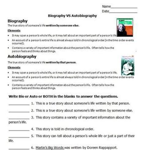 Biography And Autobiography Activities | biography vs autobiography by please feed the animals tpt