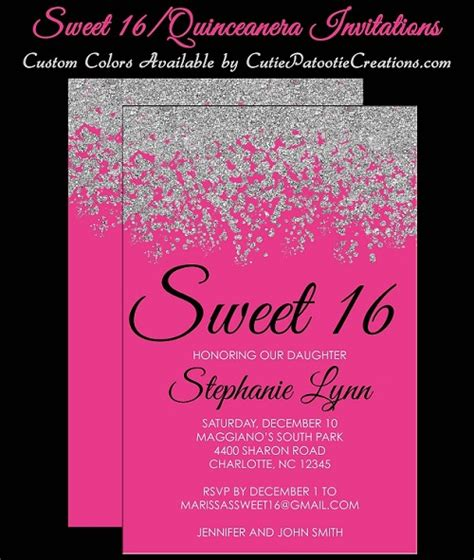 Hot Pink And Silver Sweet   Ee  Invitations Ee   Qui Eanera
