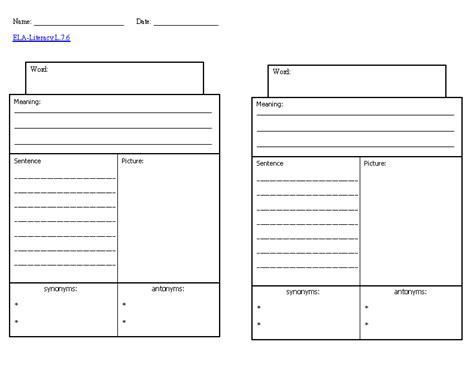 worksheet template 11 best images of vocabulary worksheet template 4th