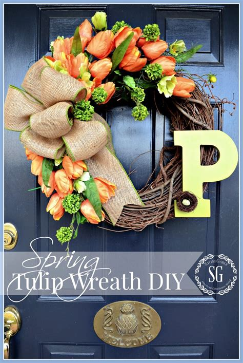 how to make a spring wreath for front door spring tulip wreath diy stonegable