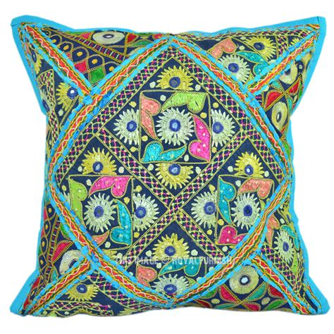 boho pillows 16 quot x16 quot turquoise boho chic one of a cotton