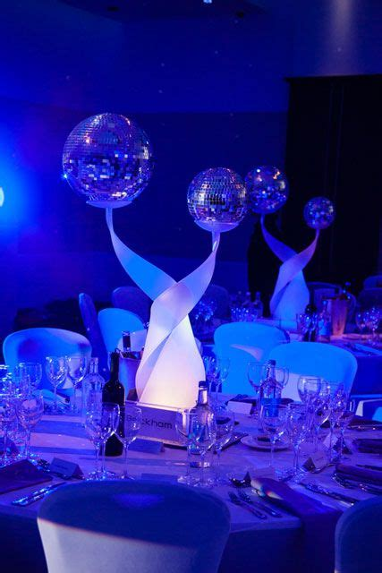 twisted stand with mirrorballs table decoration