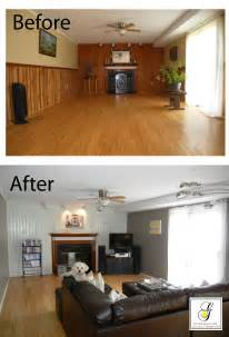 painting paneling before and after before and after gray and yellow family room