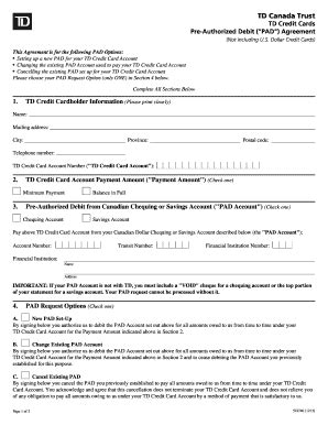 2013 2018 Form Canada Td 522740 Fill Online Printable Fillable Blank Pdffiller Pre Authorized Payment Form Template Rbc