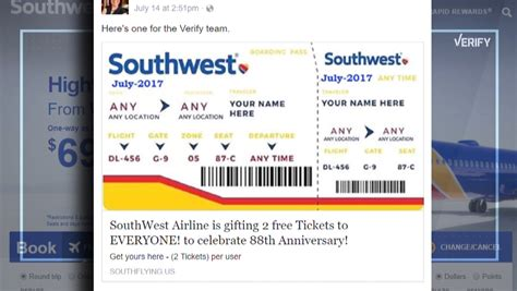 verify  southwest airlines giving   flights  facebook newscom