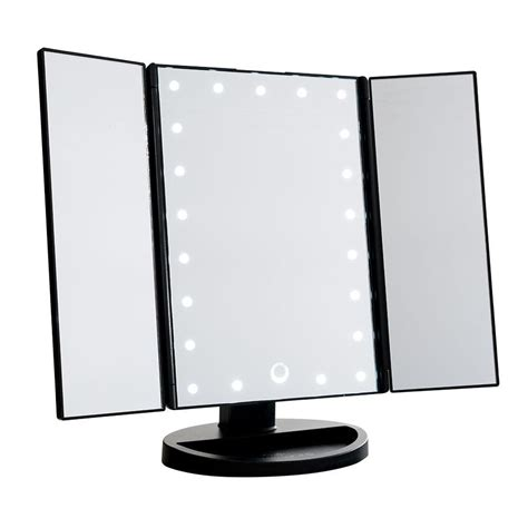 black touch control lighted makeup mirror impressions vanity touch trifold dimmable led makeup