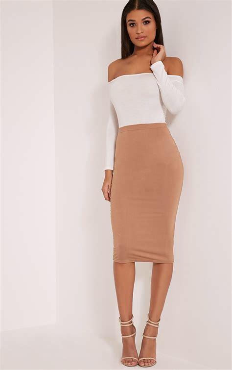 Fashion Wanita All Asli Wash Basic midi skirts s calf length skirts prettylittlething usa