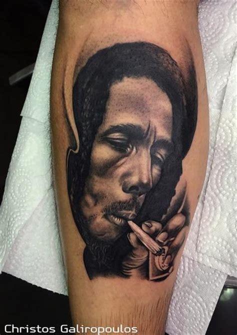 tatouage portrait r 233 aliste bob marley cuisse par el loco