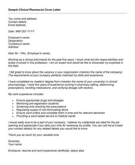 cover letter experienced professional winning clinical pharmacist cover letter exle