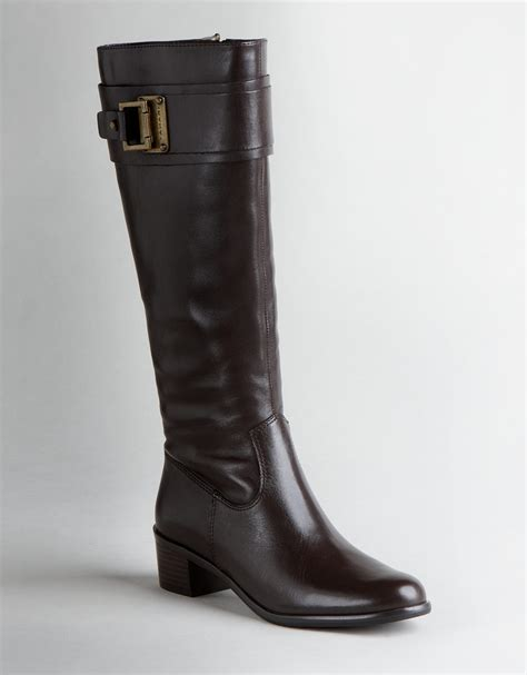 tahari kenny leather boots in black chocolate