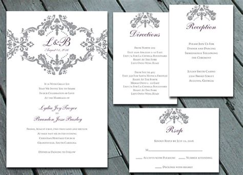 direction card template damask wedding invitation suite with rsvp info card