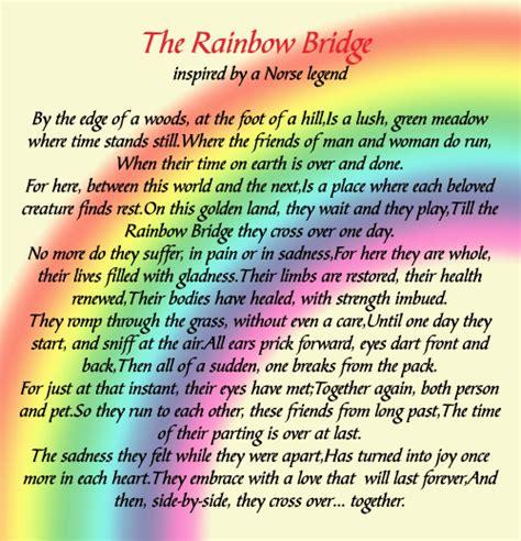 printable version of the rainbow bridge poem the gallery for gt rainbow bridge poem for cats